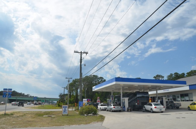 The Mobil station on State Road 100, near I-95.