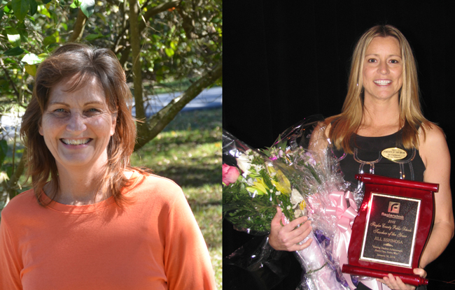 Cindy Moore, left, and Jill Espinosa, are Flagler County Schools' top honorees for 2014.