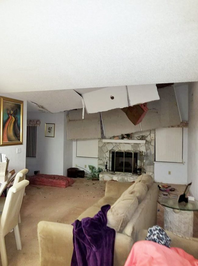 Melinda Morais's home on Palm Coast's Wellshire Lane was among the most heavily damaged by Hurricane Irma when a large tree trunk punctured the roof. (Melinda Morais)
