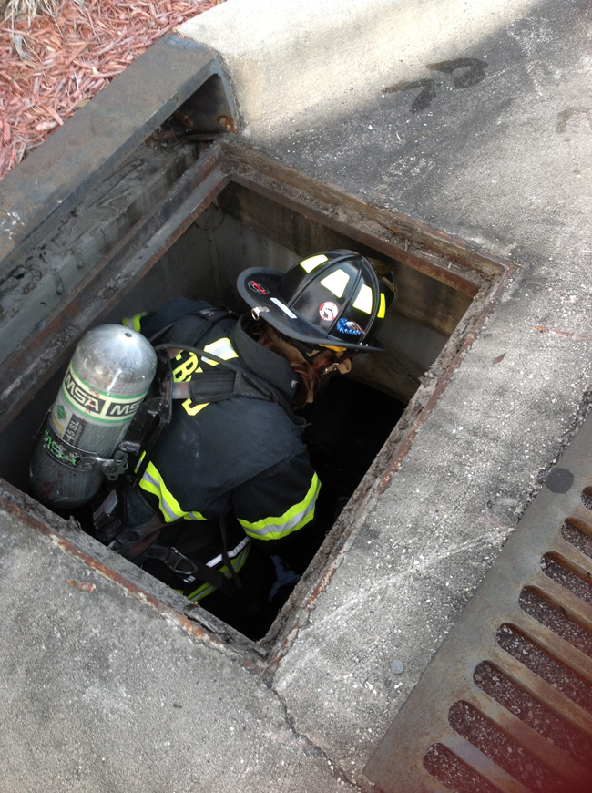 Morgan Walden could not make it into the drain with her apparatus. (Ashley Brumfield)