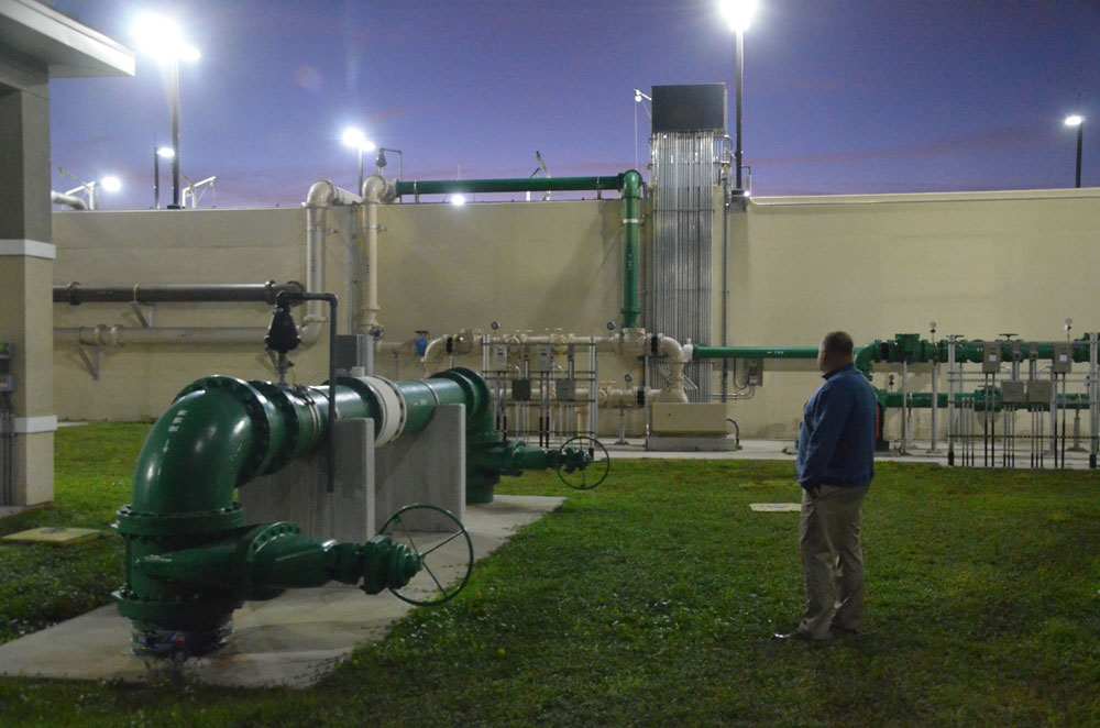 Palm Coast City Manager Matt Morton at one of the city's utility plants earlier this year. (© FlaglerLive)