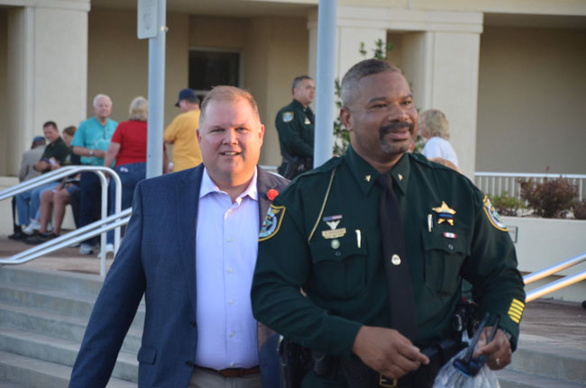 Palm Coast City Manager Matt Morton, left, and Cmdr. David Williams, the sheriff's Palm Coast liaison. (© FlaglerLive)