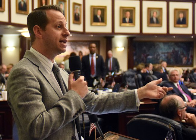 Rep. Jared Evan Moskowitz, D-Coral Springs, on the House floor in 2017. (Mark Foley)