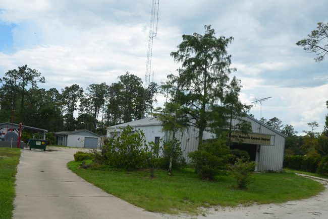East Mosquito Control District's property at the end of Utility Drive in Palm Coast. It sits adjacent to a city sewer plant. The city is planning to buy the property for $293,000. (© FlaglerLive)