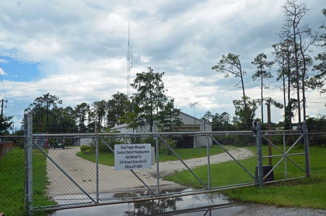 The old Mosquito Control property on Utility Drive that Palm Coast government wants to buy. It sits between two city properties. (© FlaglerLive)