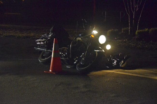 The motorcycle's lights never went off--but were clearly on as Davis rode south. (c FlaglerLive)