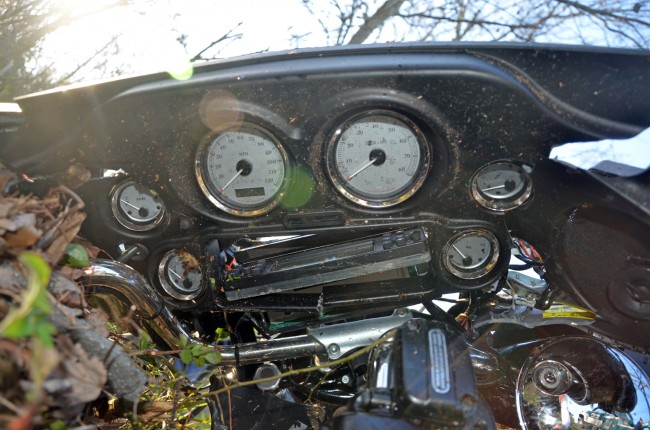 The motorcycle's dash after the bike was retrieved. Click on the image for larger view. (© FlaglerLive)