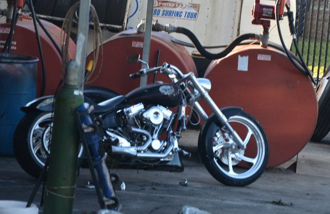 The motorcycle was towed to Roger's Towing in Bunnell. (© FlaglerLive)
