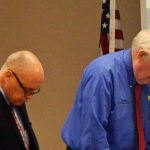 County Commissioners Donald O'Brien, left, and Dave Sullivan. For the third time in nine months this week they bowed to Joe Mullins's indecency. (© FlaglerLive)