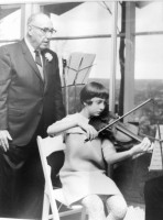 Frank Simon, who had an honorary doctorate in music, with his granddaughter--the author, Caren Umbarger, when she was 12. Click on the image for larger view. (Courtesy of Caren Umbarger)