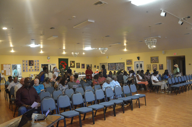 The NAACP holds its meetings in the large assembly hall of the African-American Cultural Society in Palm Coast, on U.S. 1, seen here in a file photo. When the Weeks-Meeker confrontation took place, Meeker was sitting in a back row of the hall. (© FlaglerLive)