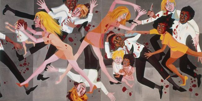 Faith Ringgold's 'American People Series #20: Die' (1967). The NAACP is hosting a town hall on violence this evening at Mt. Calvary Baptist Church, at 6:30 p.m. See below.