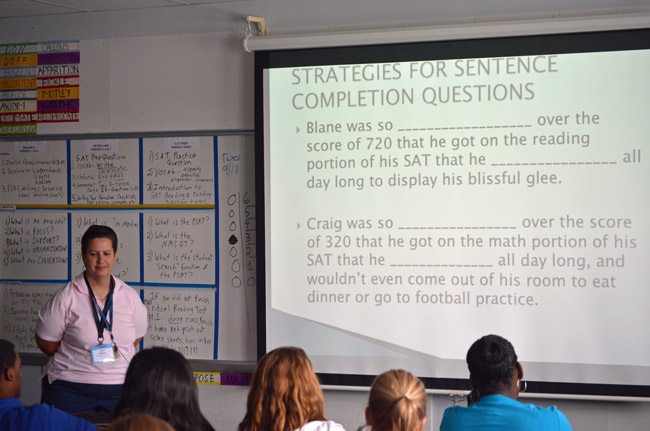 Explaining his school's improving SAT results, Matanzas Principal Chris Pryor credits Jo Ann Nahirny's SAT prep class, above, as well as the math equivalent run last year by Al Castle, and this year by  Julie Lavaglio. (© FlaglerLive)