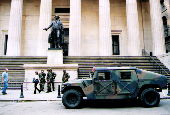 Even the National Guard had little to do in Lower Manhattan in the days following the 9/11 attacks. (© FlaglerLive)