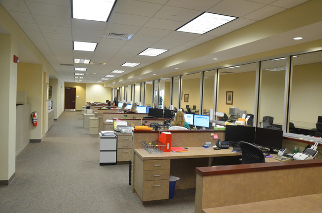 Negotiations broke down over four of those 'windows' above: the sheriff was seeking the space occupied by for cubicles he said were not used by clerk's staff. The clerk said he could not give up the space. (© FlaglerLive)