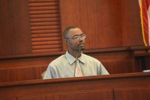 A more controlled C.J. Nelson took the stand in his own defense today as he had during a stand-your-ground hearing last month. Click on the image for larger view. (© FlaglerLive)