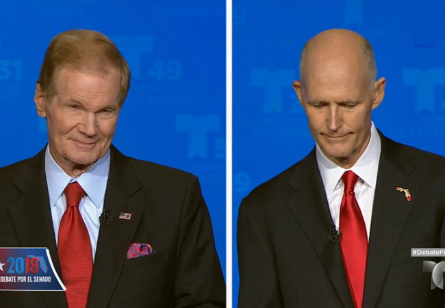 Sen. Bill Nelson, left, and Gov. Rick Scott in today's debate.