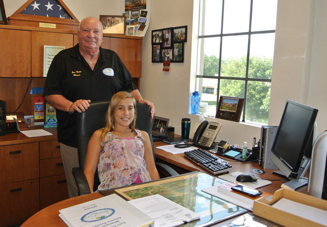 Mayor Jon Netts and Mayor Shelby Anton, in the mayoral office. The city did not disclose the more minute details of the two mayors' power-sharing agreement for the day Shelby led the city. (Palm Coast)