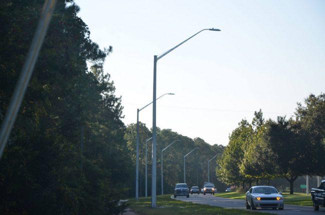 Belle Terre Parkway's new lights. (© FlaglerLive)