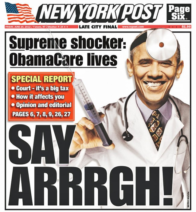 new york post cover on obama care supreme court decision