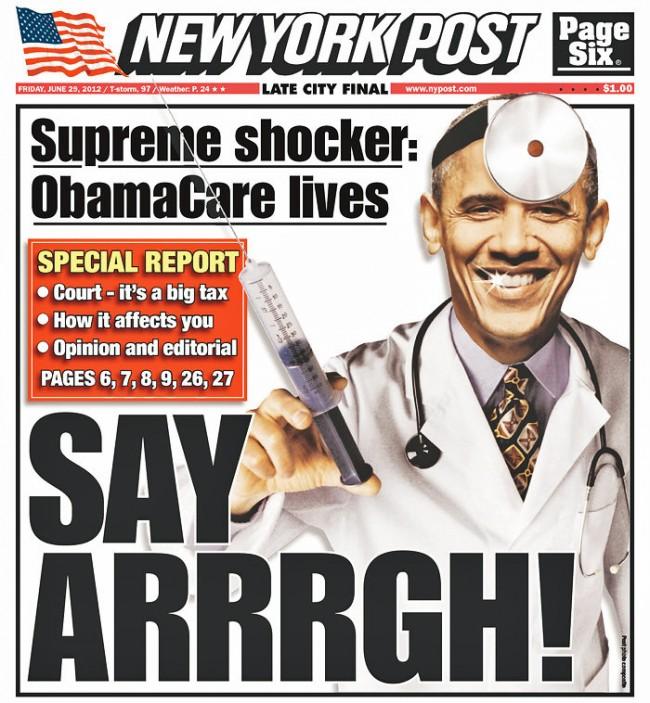 new york post cover on obama care supreme court decision