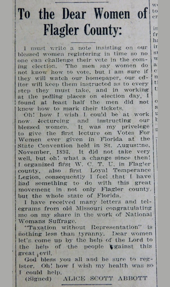 women's suffrage flagler county