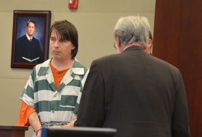 Eric Niemi and his lawyer in court today, shortly before his sentencing. (c FlaglerLive)