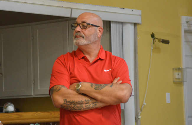 Palm Coast Council member Steven Nobile, seen here at a recent community meeting on a controversial path through the F Section, was outmaneuvered today during a council meeting discussion centered on the same controversial project. (c FlaglerLive)