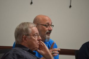 Steve Nobile follows in Bill McGuire's footsteps: McGuire, seen here in a November 2015 meeting, also resigned his seat months before an election. Click on the image for larger view. (© FlaglerLive)