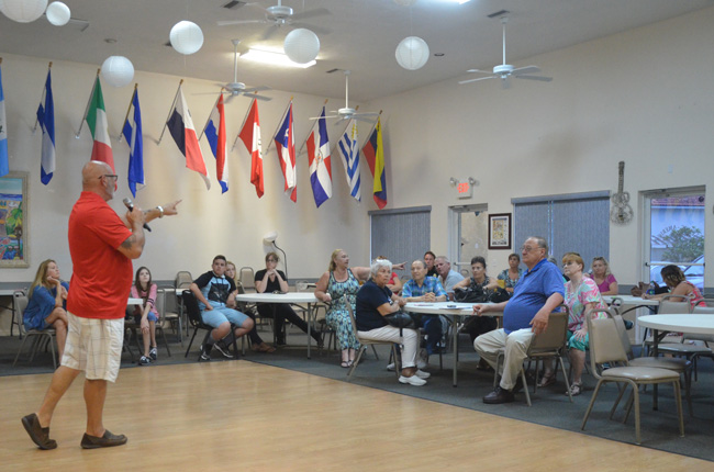 A community meeting intended to discuss opposition to a planned path in the F-Section turned into a grilling of Palm Coast City Council member Steven Nobile. Council member Heidi Shipley also attended the meeting. (c FlaglerLive)