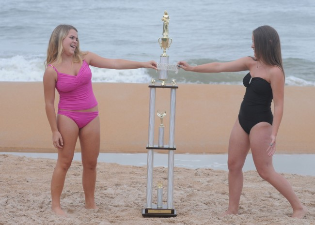 All in good fun. Norberg sisters, Tara and Kerry, are ready to fight for the crown.