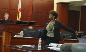 Assistant Public Defender Regina Nunally during closing arguments. The case was tried before Judge Terence Perkins. (c FlaglerLive)