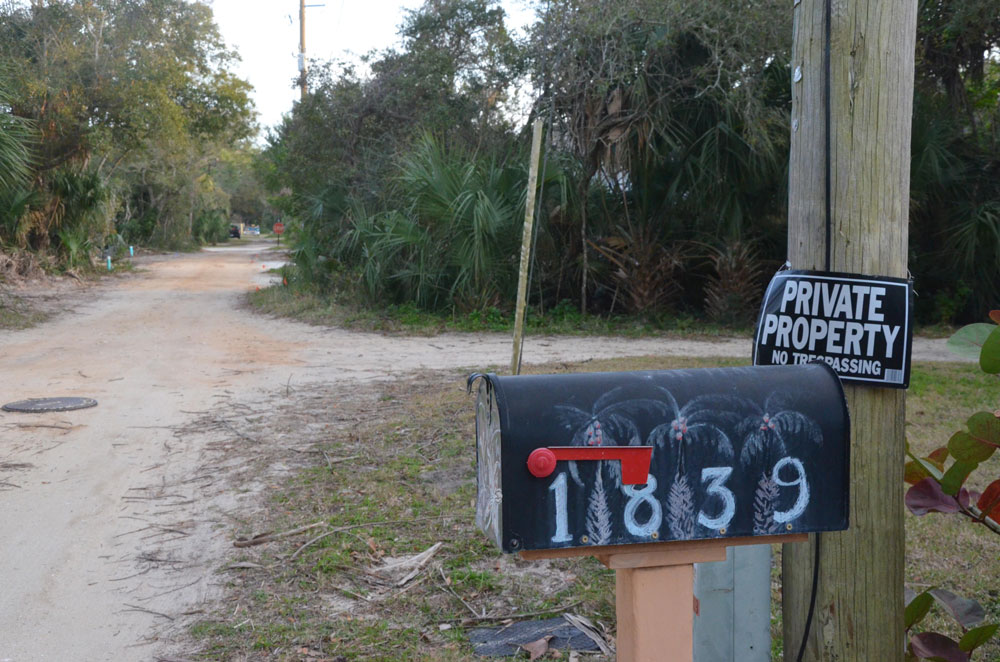 One of the post boxes the Postal Service wont deliver to on Oak Place in Flagler Beach, a street no different than many others in the city, the Hammock or unincorporated Flagler where delivery is routine.