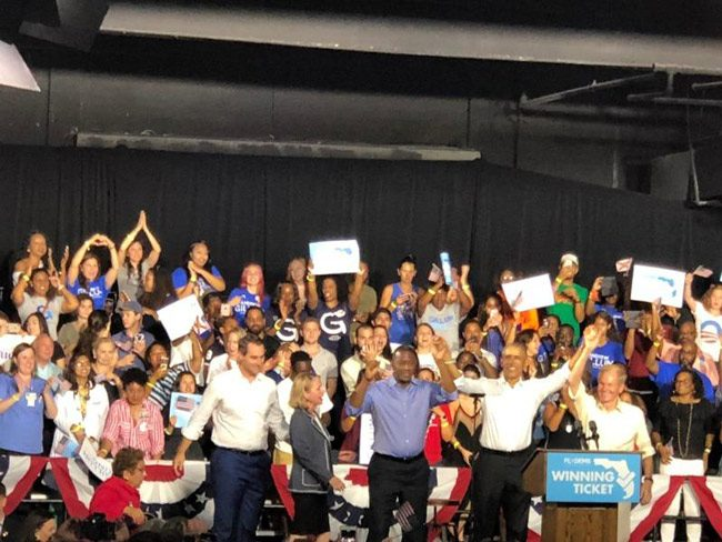 Former President Barack Obama with Andrew Gillum and Bill Nelson in Miami Friday. (NSF)