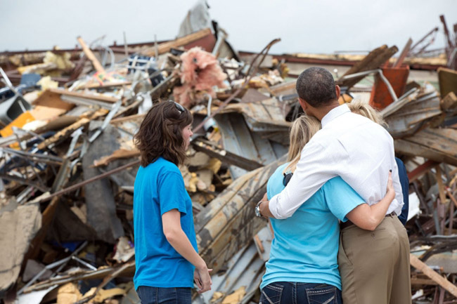 President Obama is looking either at the remains a school after it was demolished by a tornado in Moore, Okla., or at the remains of his presidency. (White House)
