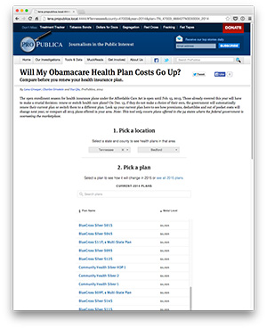 The open enrollment season for health insurance plans under the Affordable Care Act is open until Feb. 15, 2015. Click here for ProPublica's interactive tool, which lets you compare plans--narrowing them down to what's available in Flagler--before you renew your insurance through the federal exchange.