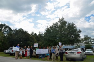 The demonstration was muted compared to, say, tea party events. Click on the image for larger view. (© FlaglerLive)