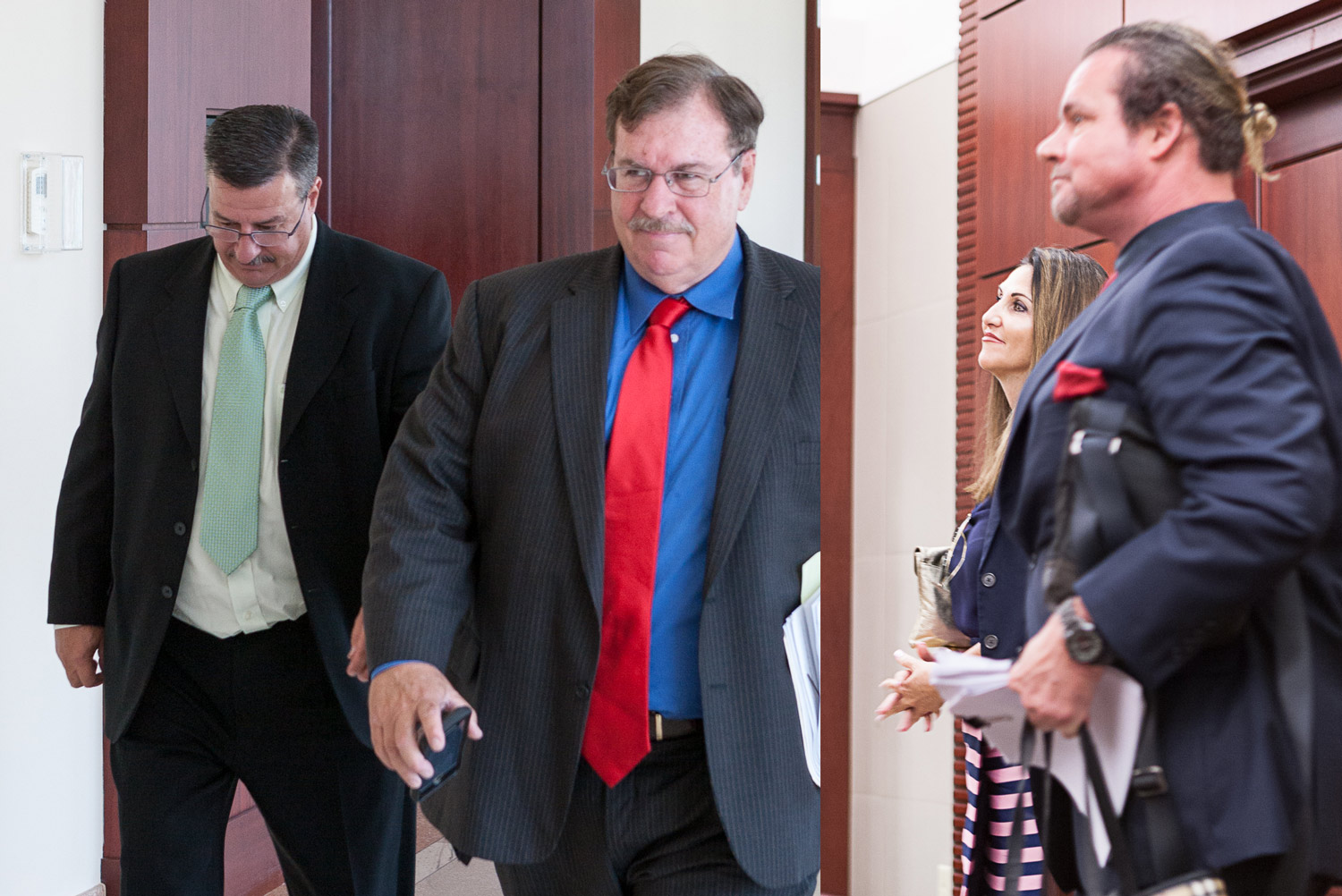 The parties arriving at this morning's hearing before Circuit Judge R. Lee Smith at the Flagler County Courthouse. From left, David O'Brien and his attorney, Stephen Alexander, Palm Coast Mayor Milissa Holland, and her attorney, Doug Kneller. (© Jon Hardison for FlaglerLive)
