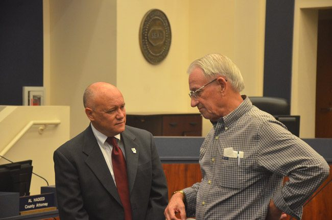 November boys: Flagler County Commissioner Donald O'Brien turns 58 today, former commissioner Alan Petersen turns 79 on Sunday. (© FlaglerLive)
