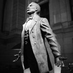 Octavius Catto's statue outside of Philadelphia's City Hall. Catto was an activist for Black suffrage, assassinated by white supremacists --Irish-American Democrats--on Election Day 1871 as he was going out to vote for the first time. (John Donges)