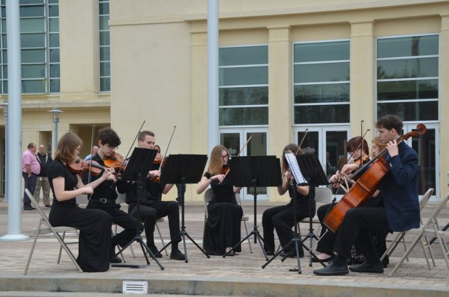 A Flagler Youth Orchestra octet provided the music. Click on the image for larger view. (© FlaglerLive)