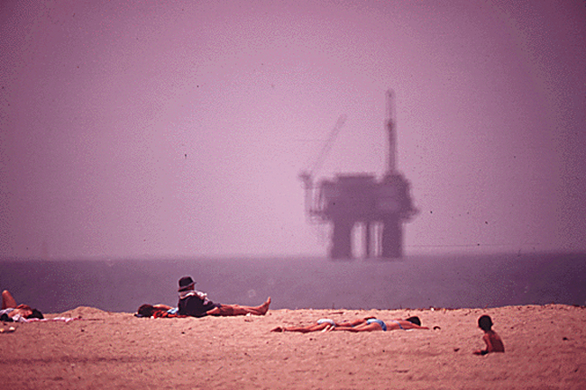 offshore drilling huntington beach california oil rigs and sunbathers
