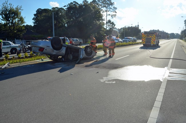 A gas spill delayed the reopening of the road. Click on the image for larger view. (© FlaglerLive)