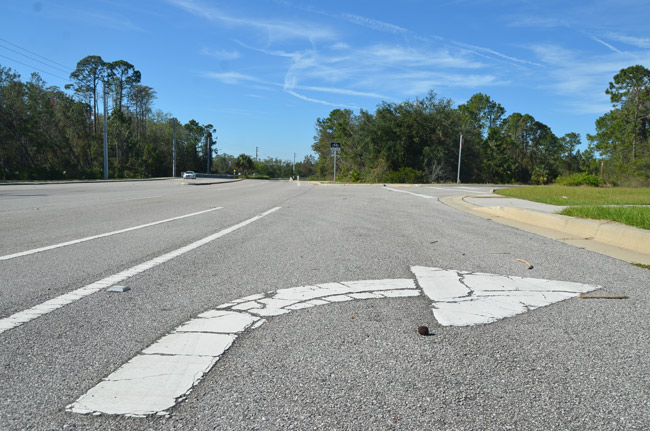 The turning lane on Old Kings Road has been there for years. It just needs a development to point to. The Palm Coast City Council just made it easier to sell the land to a potential apartment or condo builder. (© FlaglerLive)