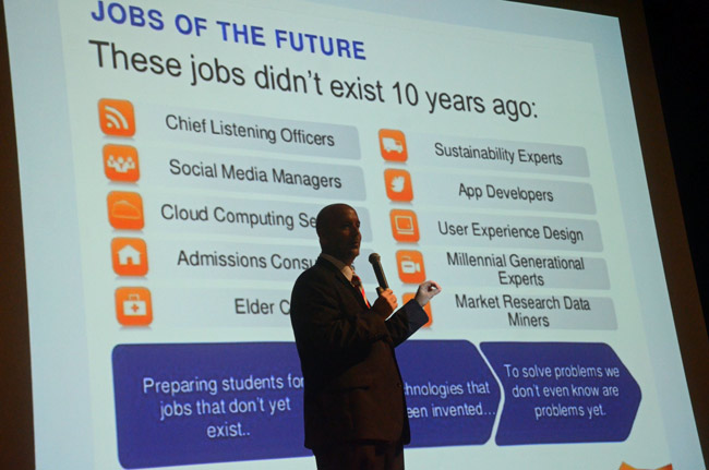 Superintendent Jacob Oliva describing the jobs of the future at a district-wide event last year. (© FlaglerLive)