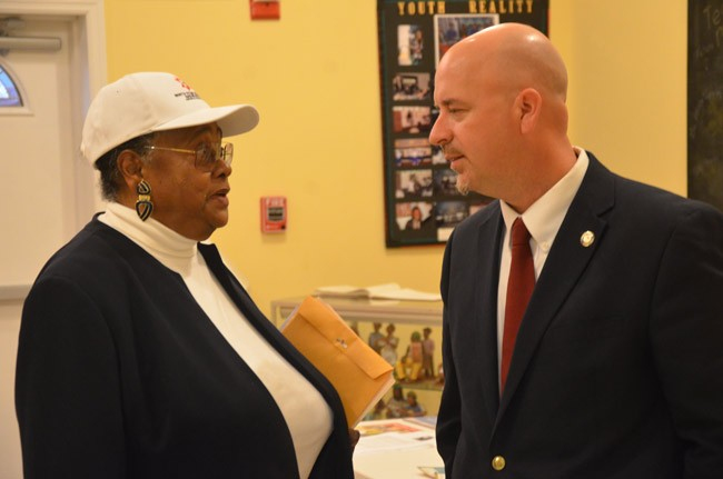 Superintendent Jacob Oliva in January with Jerusha Logan, a key, behind-the-scenes member of the NAACP's increased involvement in school district disciplinary policies in the last few years. (© FlaglerLive)