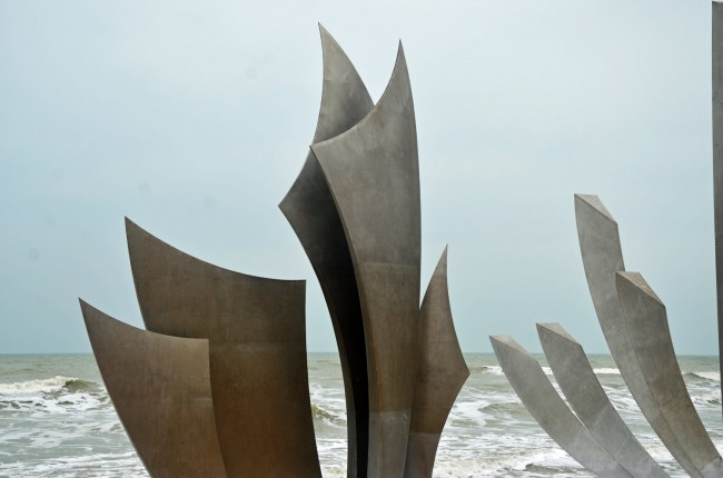 Detail from the memorial on Omaha Beach in Colleville-sur-mer, in Normandy. Click on the image for larger view. (© FlaglerLive)