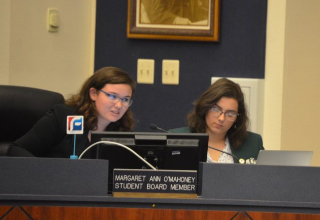 Flagler County Student School Board members Margaret O'Mahoney and Jessica Middleton posed most of the tougher questions about the district's contract with Social Sentinel Tuesday evening, ahead of the board approving its contract with the social media trolling company. (© FlaglerLive)