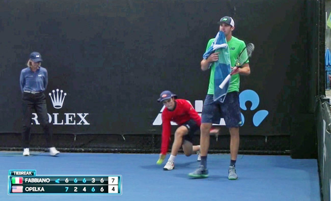 Reilly Opelka moments before his loss in a second-round match at the Australian Open. (© FlaglerLive via ESPN)