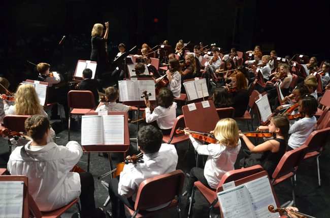The Flagler Youth Orchestra presents its final concert of the season, its traditional Take A Bow concert, at the Flagler Auditorium tonight at 7 p.m., featuring all 350-some students and five different ensembles. See below. (c FlaglerLive)